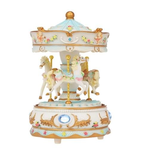 Mini Carousel Clockwork Castle in the Sky Music Box Colorful LED