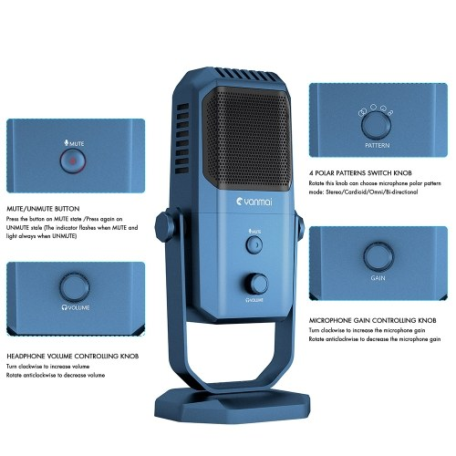 Yanmai SF-900 USB Microphone Studio Recording Condenser Microphone Four Directivity for Gaming Broadcasting Karaoke