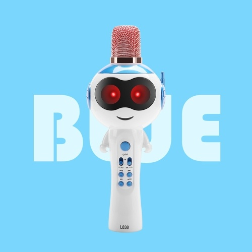 L838 Kids Wireles-s Microphone Karaokes Player BT4.2 Speaker Treasure Magic Sound Singing Toy Portable Lightweight Birthday Party Xmas Family Garhering for Iphones Ipads Android Smart Phone PC
