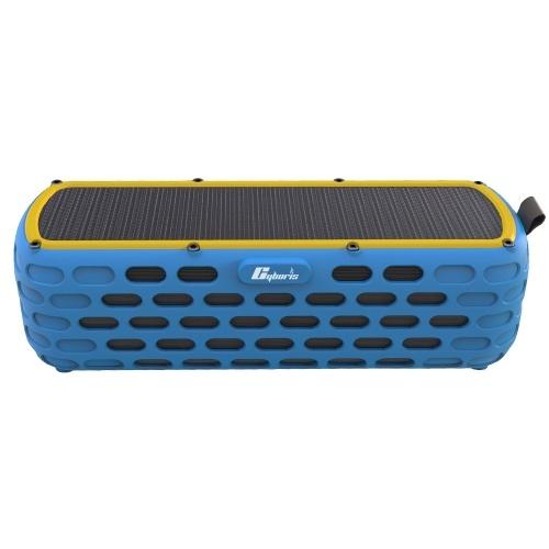ES-T63 Wasserdichter Solar Bluetooth 4.0 Lautsprecher Kabelloser HiFi-Lautsprecher mit LED-Licht für Outdoor-Klettern Radfahren mit eingebautem Mikrofon