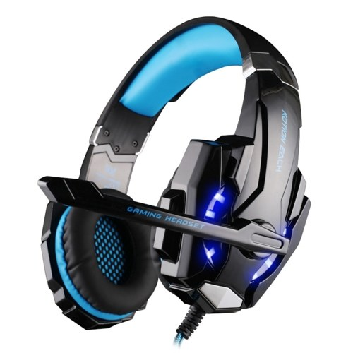 KOTION EACH G9000 3.5mm Gaming Headphone Over Ear Game Headset Noise Cancellation Earphone with Mic LED Light Volume Control for PS4 Laptop Tablet Mobile Phones Desktop PC