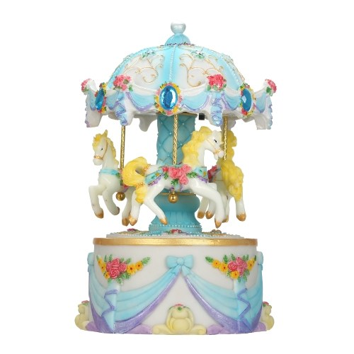Carousel Music Box with Projection LED Light Music Case Luminous Children Toy Decor Christmas Festival Presents Birthday Gifts