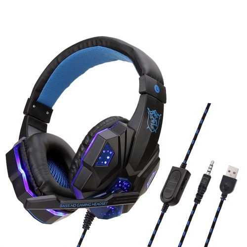 SY830MV Wired Computer Gaming Headphones Over-ear Game Headset with Microphone AUX+USB Port Volume Control for PC