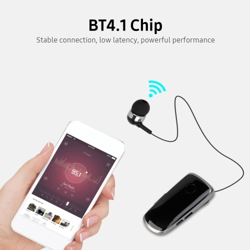 Portable Business BT Headphone Scalable Clip Type BT Noise Reduction Earphone with Incoming Call Vibration Function Rose Red