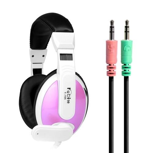 KUBITE T155 Gaming Headset Casque supra-auriculaire de 3,5 mm avec contrôle du volume du microphone réglable pour PC de bureau