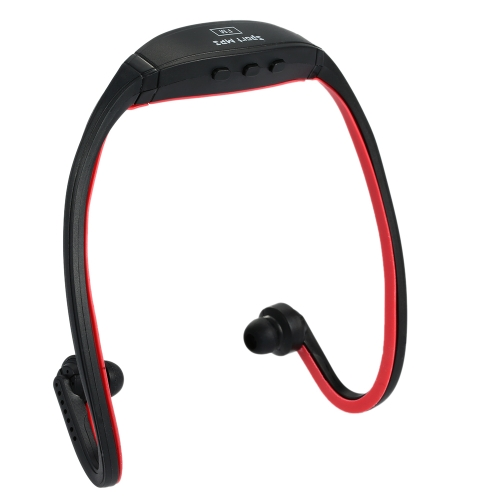 Compact Digital Music Player Dual-channel Sports MP3 with FM Function Headphone Wireless Plug-in Card Headset Black + Red for Multimedia Player