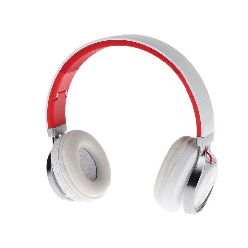 A-350 BT Wireless Headset Over-oreille casque stéréo de 3,5 mm Musique Line-in mains libres avec micro pliant Bandeau Ecouteur Blanc avec Rouge pour les périphériques audio iPhone 6S Samsung S7 Note 5 Notebook MP3 MP4 Autres BT