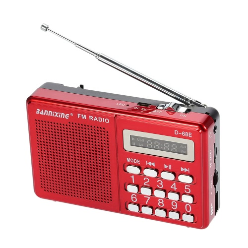BANNIXING D-68E FM Radio Speaker Digital Audio Player Support U Disk TF Card Playback Stereo Music Player Red