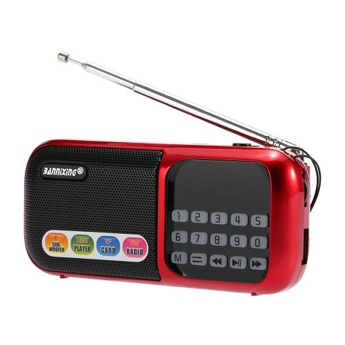 BANNIXING D-201SE FM Radio Speaker Digital Audio Player Support U Disk TF Card Playback MP3 WAV Music Player Red