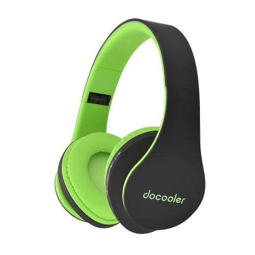 Docooler JH-812 Stereo Bluetooth Headphone Wireless Bluetooth 4.1 Headset 3.5mm Wired Earphone MP3 Player TF Card FM Radio Hands-free w/ Mic Green for iPhone 6S 6S Plus Samsung S6 S5 Note 6 5 Laptop Notebook