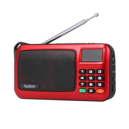 Rolton W405 FM Rádio Digital Portátil USB Com Fio Do Computador Speaker HiFi Receptor Estéreo w / Lanterna LED Display Suporte TF Music Play