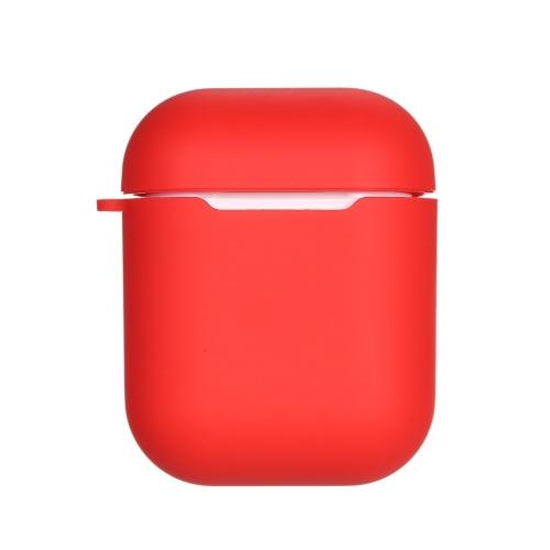 Couvercle de protection en silicone anti-renversement de la boîte de charge sans fil QI pour Air Pods, rouge