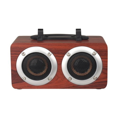Portable Bluetooth 4.2 Speaker Wooden Player Stereo Surround Player Double Horn Built-in 1200mAh Battery with TF Card AUX Audio Soundbar