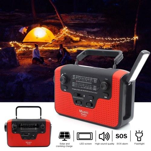 Uso múltiplo Movido a Energia Solar ou Geração de Energia à Mão Rádio FM Com TF BT Lanterna USB Carregamento Carregador de Emergência Alarme de Emergência