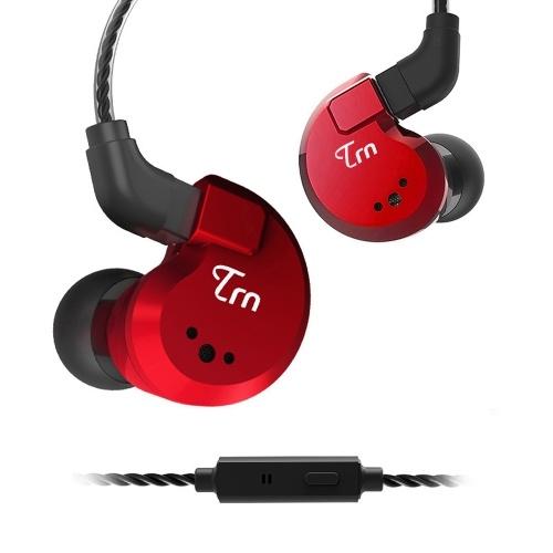 TRN V80 3,5-мм наушники-вкладыши 2DD + 2BA Гибридная спортивная гарнитура HiFi Музыкальные наушники 2-контактный съемный кабель In-Line Control с микрофоном