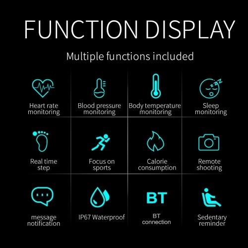 Image of T10 Intelligentes Armband Farbbildschirm Körpertemperaturmonitor IP67 Wasserdichtes Sport Tracker Fitness Armband (rot)