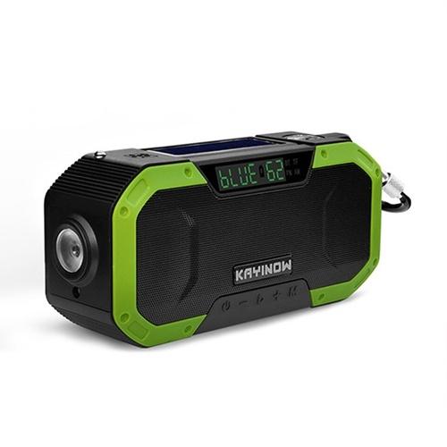 Rádio portátil à prova d'água IPX6 com manivela multifunções BT alto-falante externo de emergência com luz LED e FM