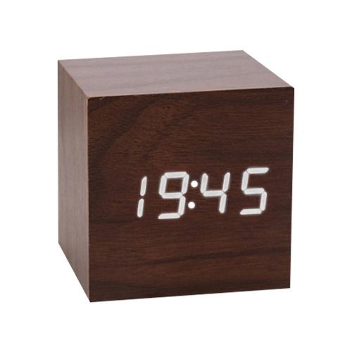Wooden LED Alarm Clock Intelligent Electronic Clock Desktop Table Voice Control Snooze Function Clock