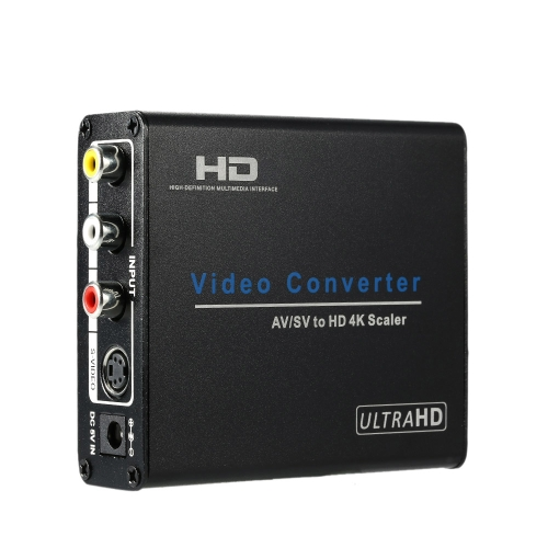 Composite AV RCA / S-Video to HD Converter UHD 4K Video & Audio Upscaler Conversion Adapter for DVD STB VCR Game Consoles to HDTV Monitor Projector