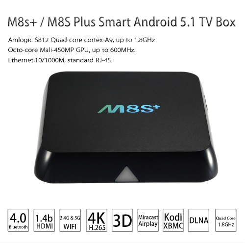 M8s+ / M8S Plus Android 5.1 S812 TV Box  KODI 2.4G & 5G WiFi -2G / 8G US Plug