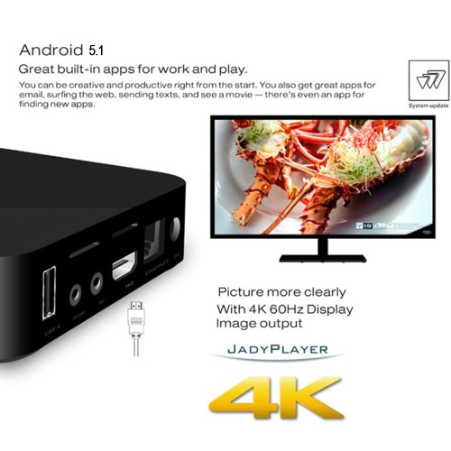Andoer Smart Android TV Box Android 4 4 RK3229 Quad Core 32bit 1GB / 8GB  UHD 4K HDMI Mini PC WiFi Miracast DLNA Intelligent Smart Player - Andoer com