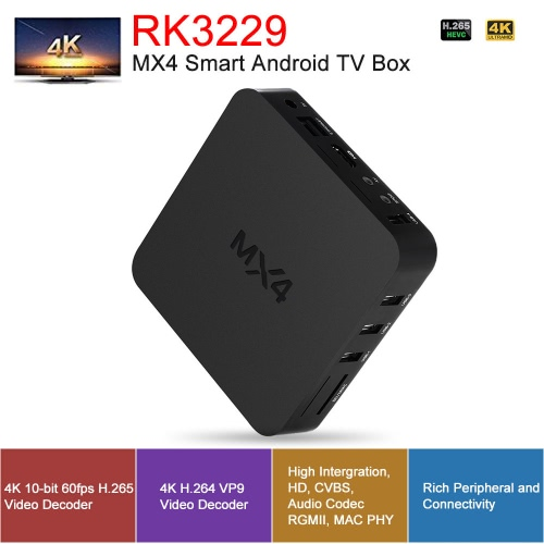 MX4 Smart Android 6 0 TV Box RK3229 Quad Core 1G / 8G DLNA UHD 4K 3D H 265  WiFi HD Media Player with Remote Control UK Plug