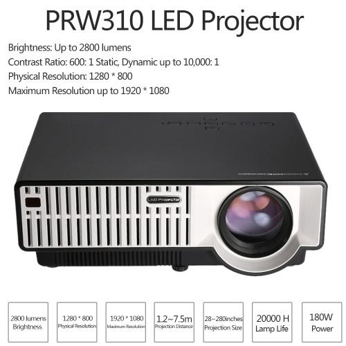 prw310 led projector 2800 lumens full hd 1080p dual hdmi / vga / usb / av / tv input