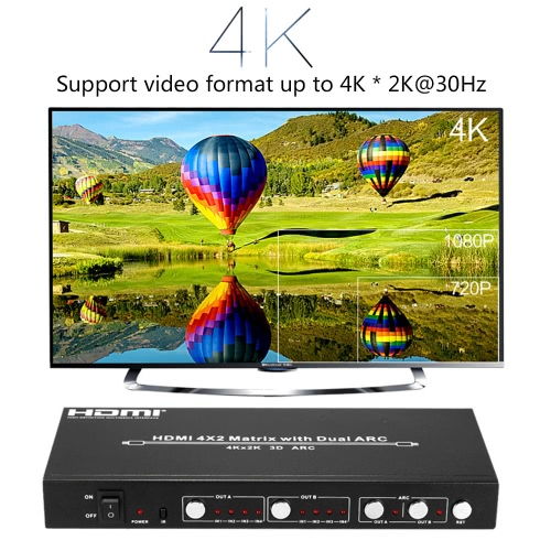 HDM-942U HD Matrix 4 * 2 Switch Adapter 4 Inputs 2 Outputs Dual ARC Support UHD 4K for PS4 PS3 Blue-Ray DVD player to HD Monitor