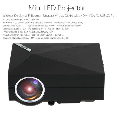 GM60A  Mini LED Projector WiFi Beamer 1000 Lumen 800 * 480  Pixels 1000: 1  HD VGA AV USB SD-US Plug