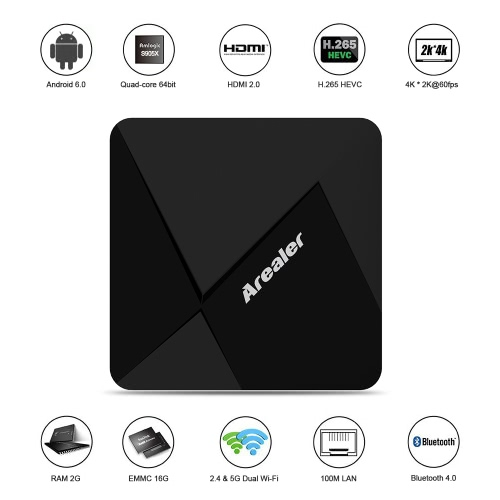 Arealer X9 Smart Android 6.0 TV Box Amlogic S905X Quad core 64bit KODI 16.1 XBMC H.265 UHD 4K HD 2G / 16G Mini PC 2.4G & 5G Wi-Fi BT 4.0 DLNA AirPlay Miracast Media Player UK Plug