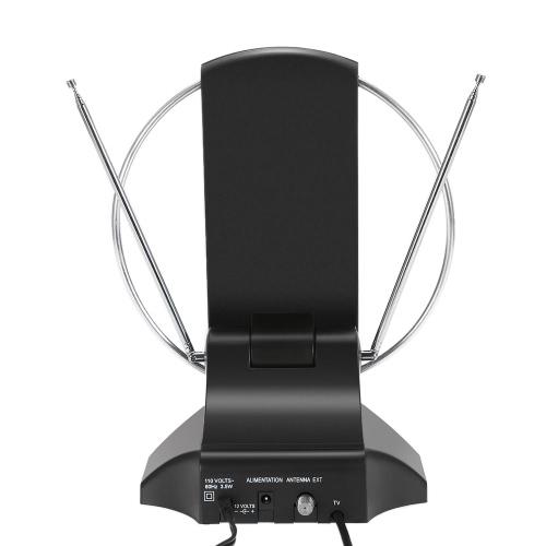 LAN-1014 Amplified HDTV Antenne intérieure TV numérique Antenne 50 Mile Range 36dB UHF / VHF / FM Signal avec alimentation pour HDTV / DTV / FM Receiver F Connecteur US Plug