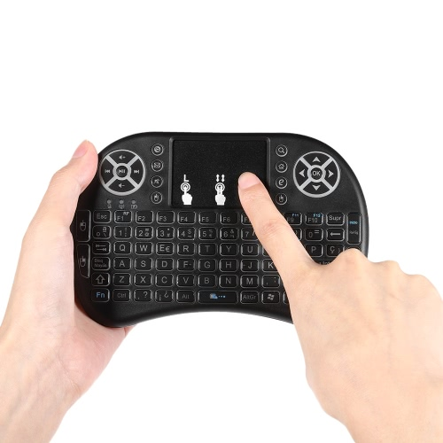 Spanish Version Backlit 2.4GHz Wireless Keyboard Air Mouse Touchpad Handheld Remote Control Backlight for Android TV BOX PC Smart TV Black