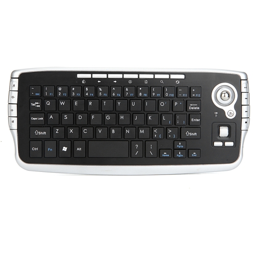 E30 2.4GHz Wireless QWERTY Keyboard with Trackball Mouse Silver