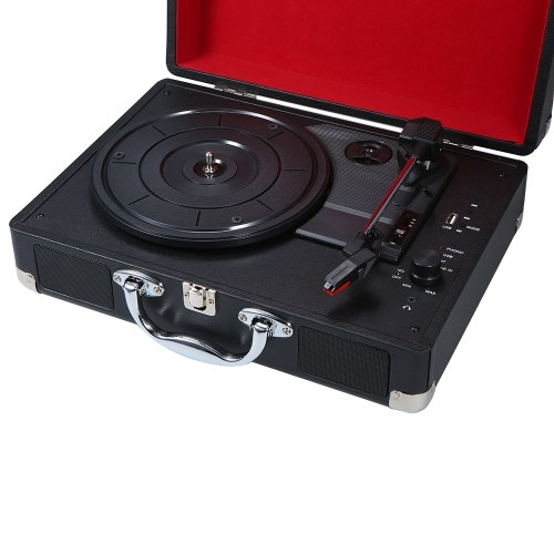 Turntable With Speakers Vintage BT Phonograph USB Interface Record Player Stereo Sound Black US-type