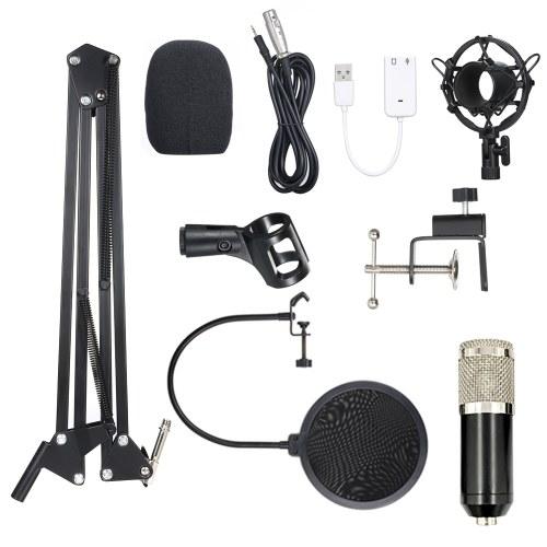 BM800 Конденсаторный микрофон Lit Pro Audio Studio Запись и вещание Регулируемый микрофон Подвеска Ножничный рычаг Поп-фильтр Черный + серебристый