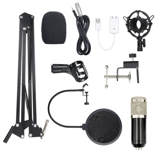 BM800 Condenser Microphone Lit Pro Audio Studio Recording & Brocasting Adjustable Mic Suspension Scissor Arm Pop Filter Black+Silvery