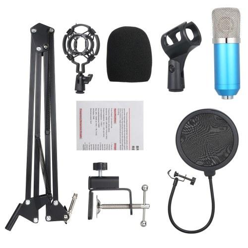 Professional BM700 Condenser Microphone Mic KTV Singing Studio Recording Kit Blue+Silvery