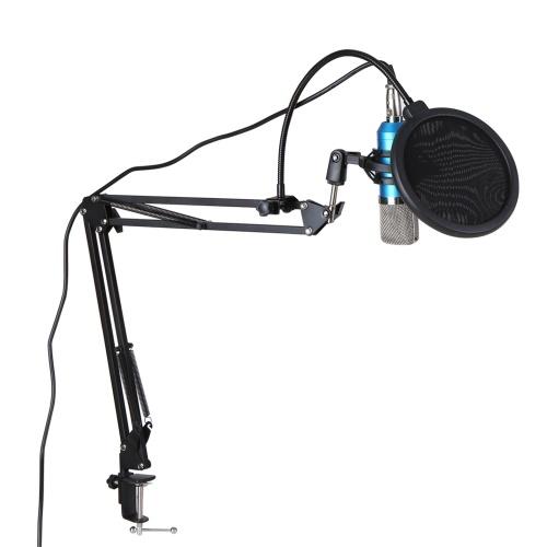 Professional BM700 Condenser Microphone Mic KTV Singing Studio Recording Kit Silvery