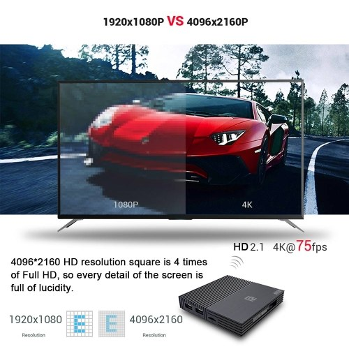 A95X F2 Android 9.0 Smart TV Box Cortex-A53 Quad-core H.265 4K VP9 4GB+32GB 2.4G WiFi HD Media Player Time Display Video Player Support 32GB TF Card Remote Control US Plug
