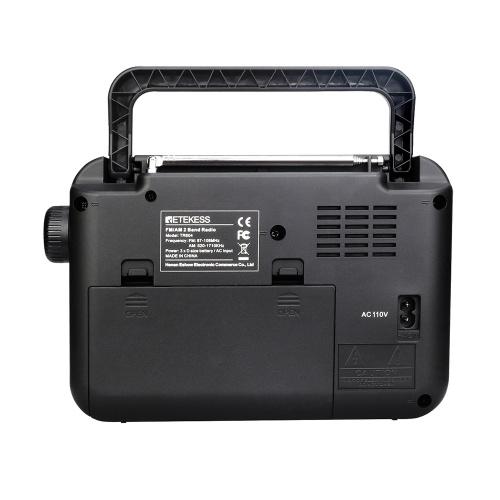Retekess TR604 AM / FM-радио для пожилых людей Двухдиапазонный радиоприемник с портативным аккумулятором и питанием от сети переменного тока, черный