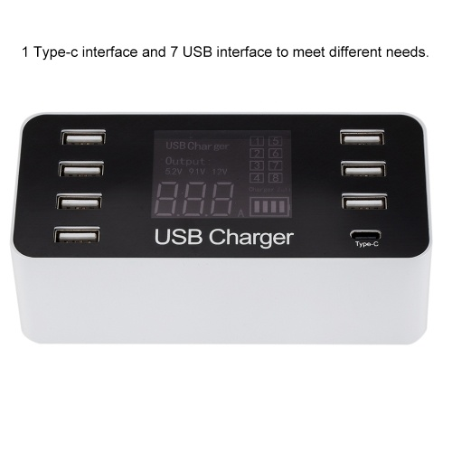 A9 Multi-function Smart USB Charger LCD Display 7 USB Ports 1 Type-C Port AC100-240V