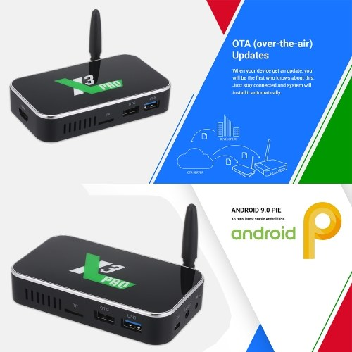 X3 PRO Android 9.0 TV Box S905X3 Quad-core 64-bit Chipset CPU Cortex-A55 TV Set Top Box Support BT 4K 1080P 4GB+32GB Media Player 2.4G/5G WiFi