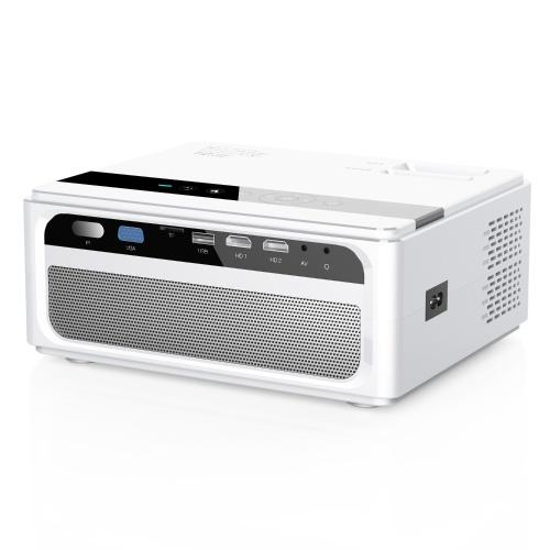 Светодиодный ЖК-проектор CP600 1080P Домашний кинотеатр 200ANSI Lumens Media Player Размер проекции 200 дюймов 1280 * 720P 2000: 1 Коэффициент контрастности HD VGA AV USB Пульт дистанционного управления для ноутбука Ноутбук DVD-плеер