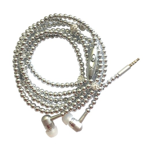 Jewelry Pearl Necklace Stereo Earphones with Microphone 3.5mm In-ear Headphone Wired Headset Earbuds for Phone Girls