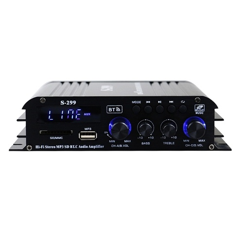 S-299 Mini 4.1 Audio Stereo Power Amplifier BT Portable Car and Home Dual-use 4*40W Remote Control Audio Amplifier V9138US