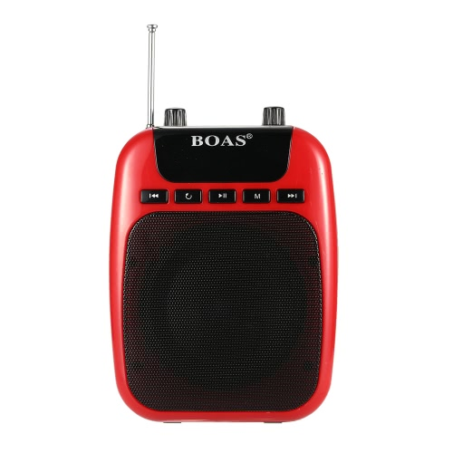 BOAS BQ-850 3 in 1 Multifunctional Waistband Loudspeaker Amplifier  Micro SD/TF Card FM MP3 Playing Music Megaphone For Guide Teacher Salesperson Black  EU Plug