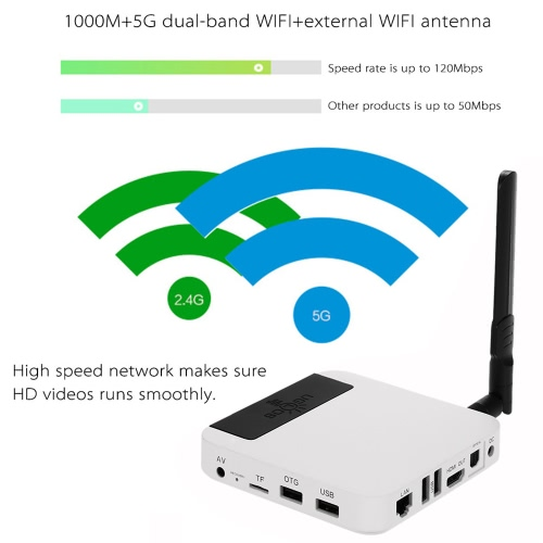 Original Ugoos UT3S Smart Android TV Box Android4.4+ubuntu 14.10 Dual OS RK3288 2G/16G UHD4K 3D HDMI2.0 Mini PC Bluetooth 4.0 WIFI5.0 1000M Kodi/XBMC/Miracast/DLNA Smart Media Player with Remote Controller EU Plug Blue