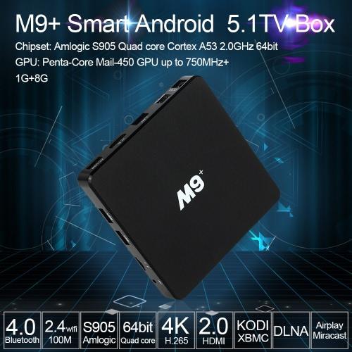 M9+ Smart Android TV Box Android 5.1 Amlogic S905 Quad Core 64bit KODI XBMC UHD 4K 3D 1G/8G Mini PC 100M LAN WiFi H.265 DLNA Airplay Miracast HD Media Player  EU Plug