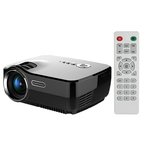 GP70 LED Projector 1200 lumens 10,000 : 1 800 * 480 Pixels 1080P Full HD w/ HD VGA AV USB SD-