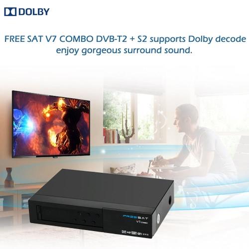 FREE SAT V7 COMBO Full HD 1080P DVB-T2 + S2 Caixa de configuração do receptor de transmissão de vídeo digital compatível com DVB-S / DVB-T para TV HDTV